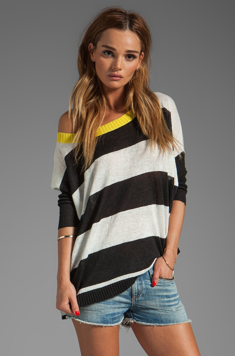 Central Park West Chapel Hill Striped Top in Black/Ivory/Citron