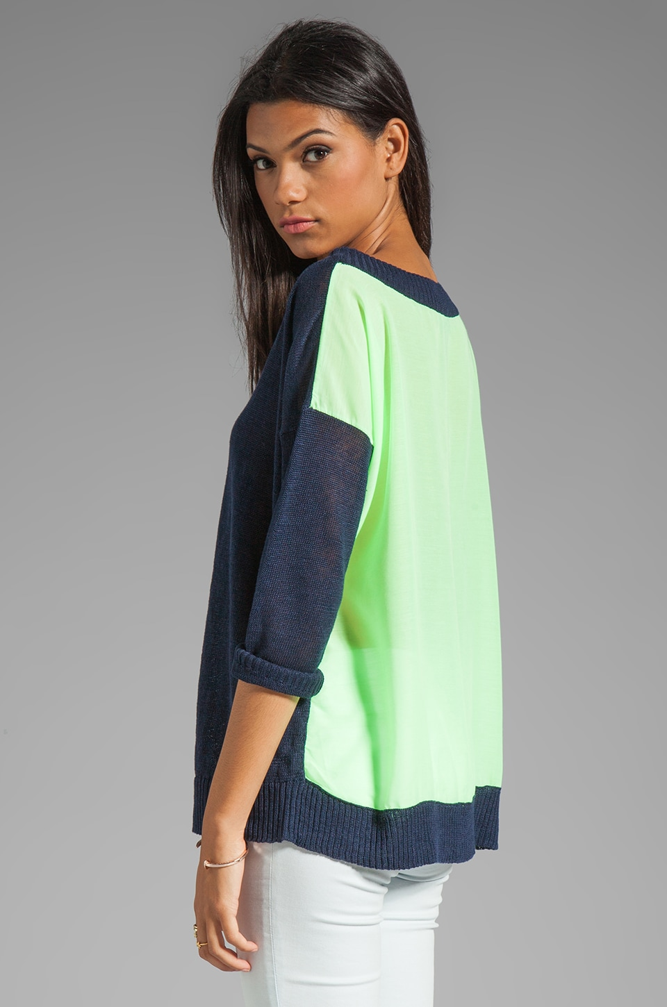 Central Park West Santorini Top in Navy/Lime