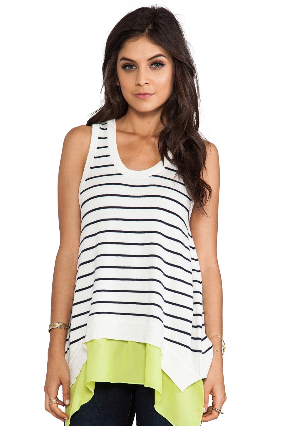 Central Park West Zurich Layered Tank in Navy Stripe