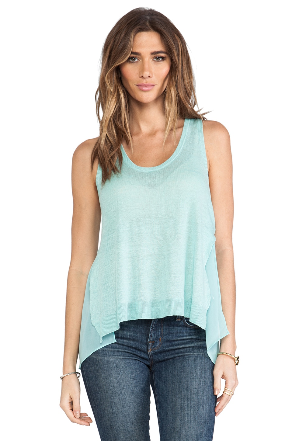 Central Park West St. Petersburg Sheer Panel Tank in Seafoam
