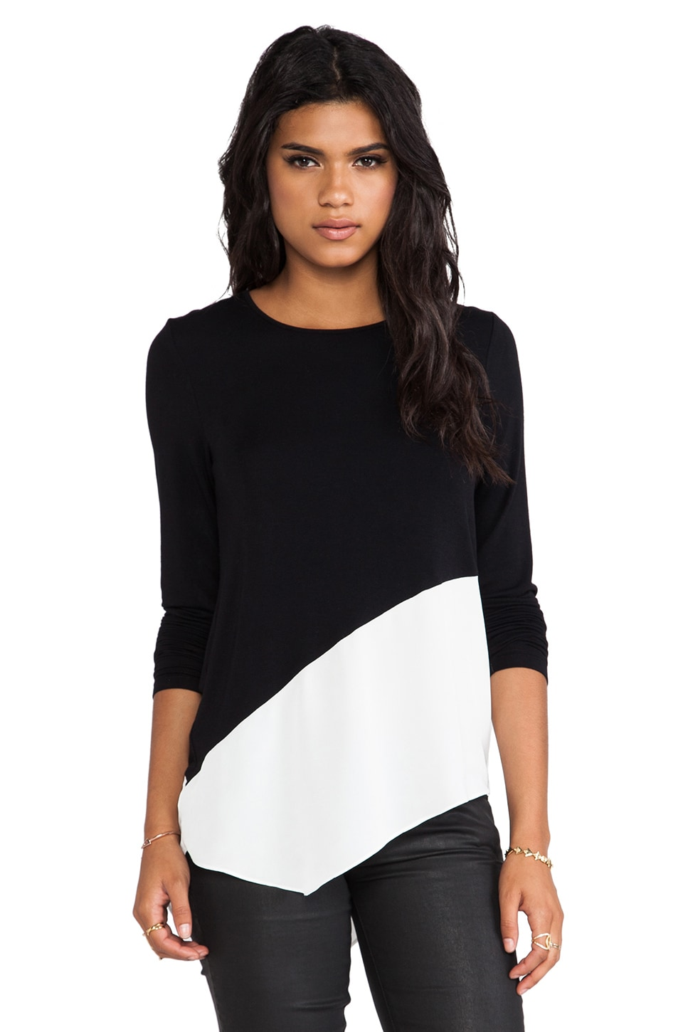 Central Park West Niagara Asymmetric Hem Sweater in Black