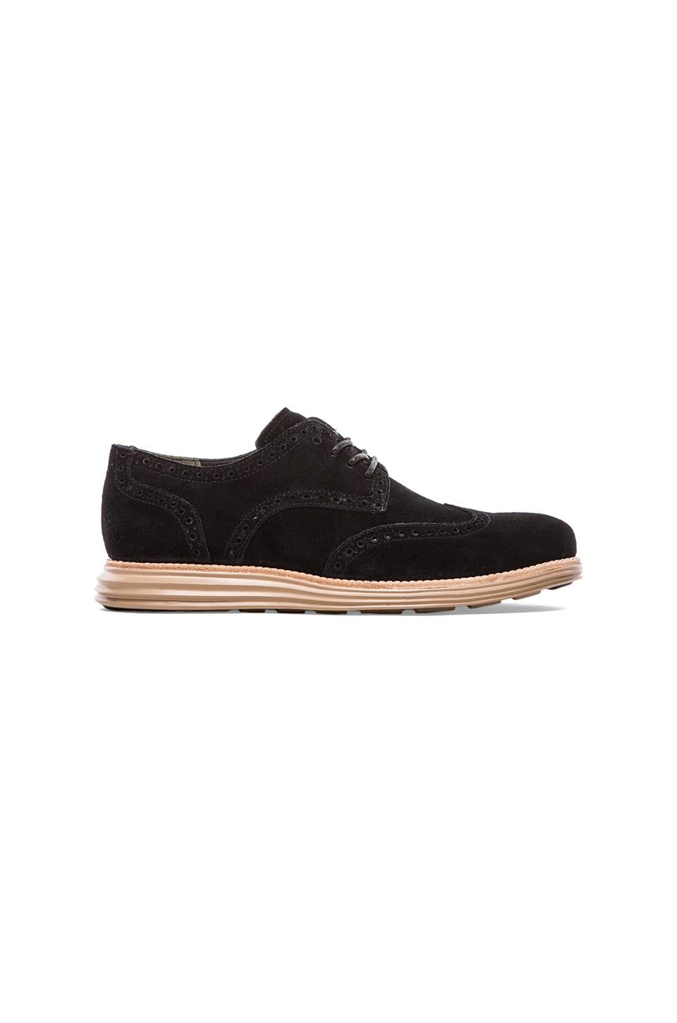 Cole Haan Lunargrand Wing Tip in Black Suede