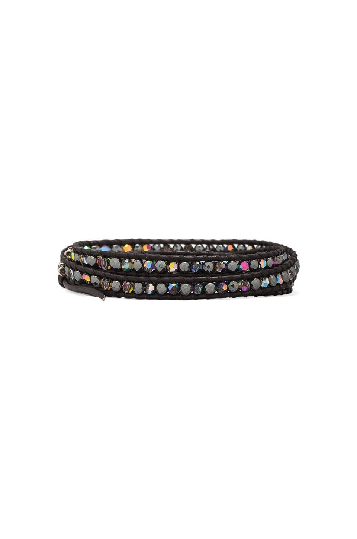 CHAN LUU Wrap Bracelet in Hematite/Natural Black