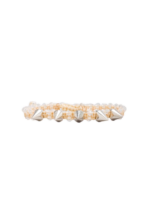 CHAN LUU Crystal Spike Bracelet in Crystal/Beige