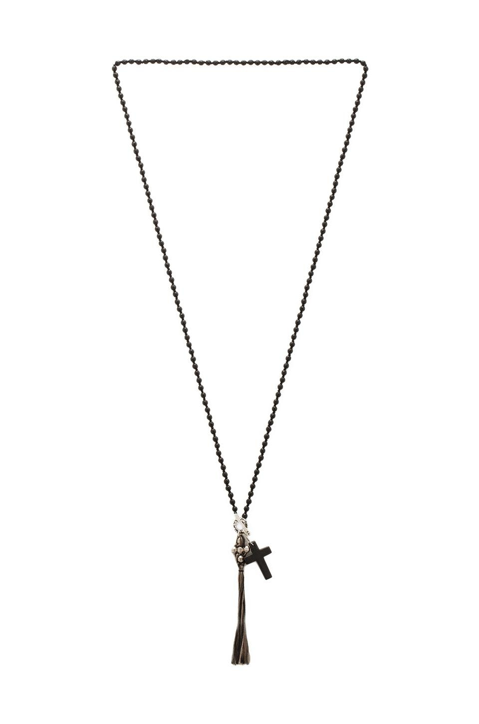 CHAN LUU Cross Necklace in Matte Onyx