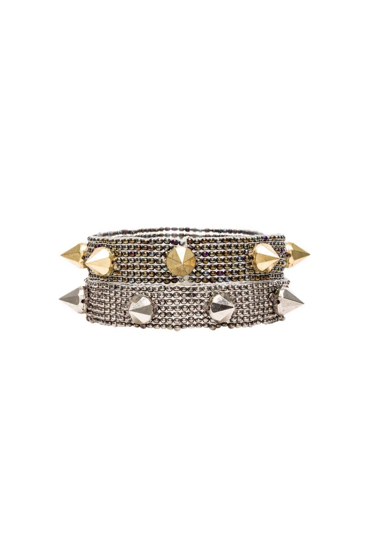 CHAN LUU Studs Beaded Bracelet in Sepia Combo