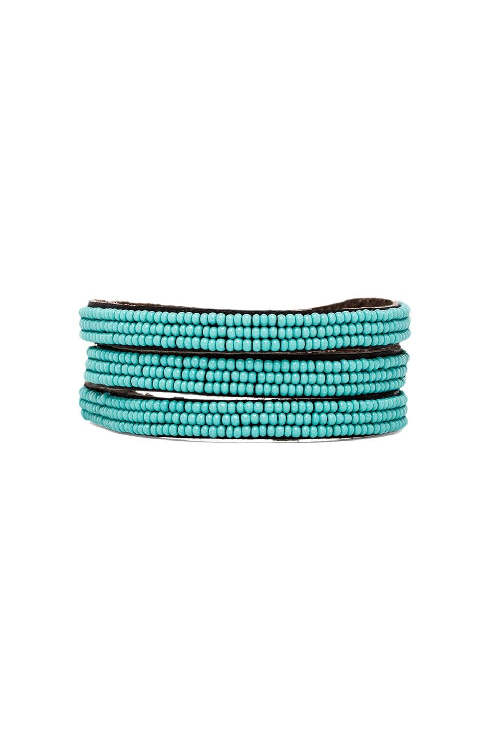 CHAN LUU Beaded Wrap Bracelet in New Turquoise