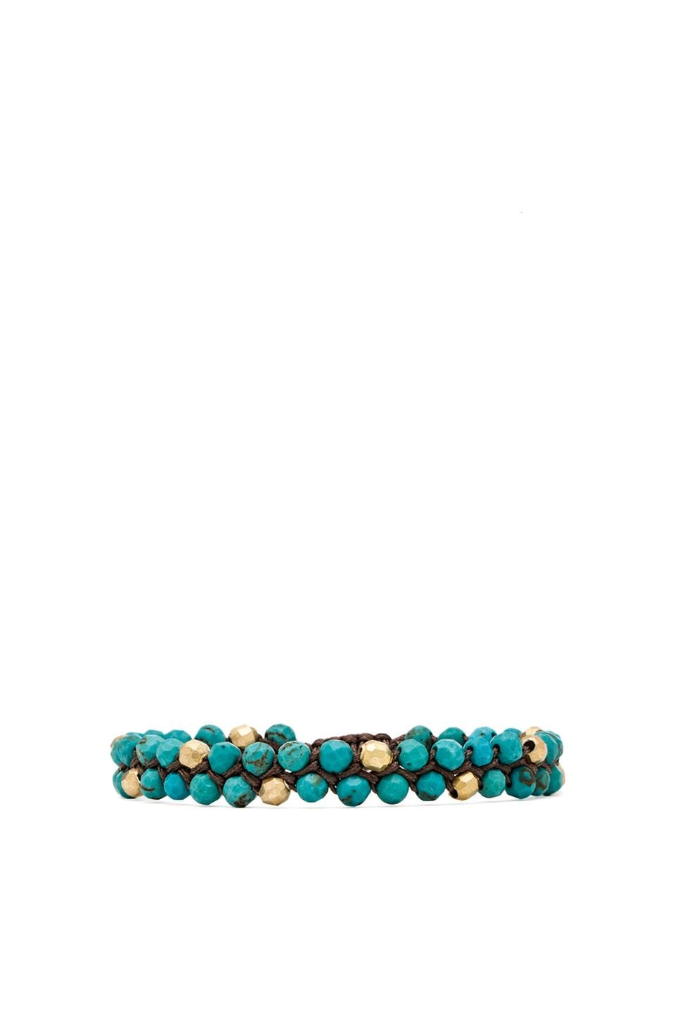 CHAN LUU Beaded Bracelet in Turquoise & Taupe