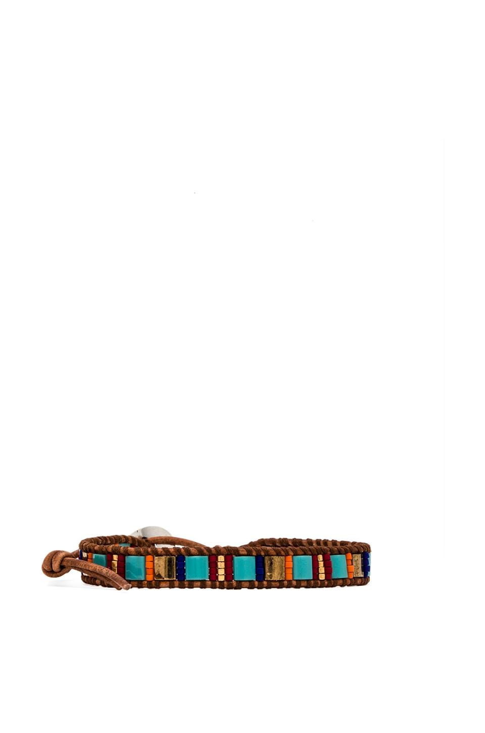 CHAN LUU Thin Beaded Bracelet in Turquoise Mix & Natural Brown
