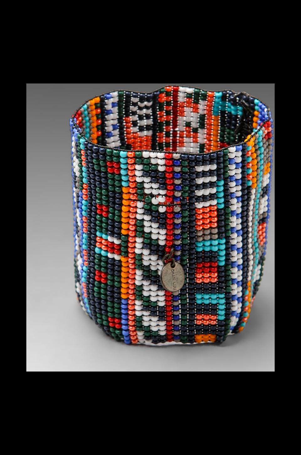 CHAN LUU Handwoven Glass Bead Cuff in Medieval Blue Combo