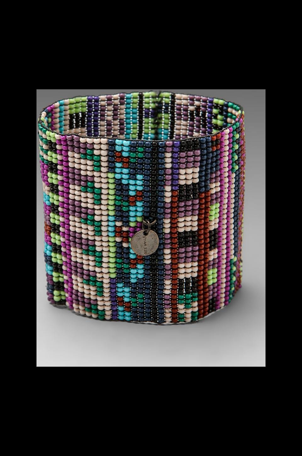 CHAN LUU Handwoven Glass Bead Cuff in Purple Combo