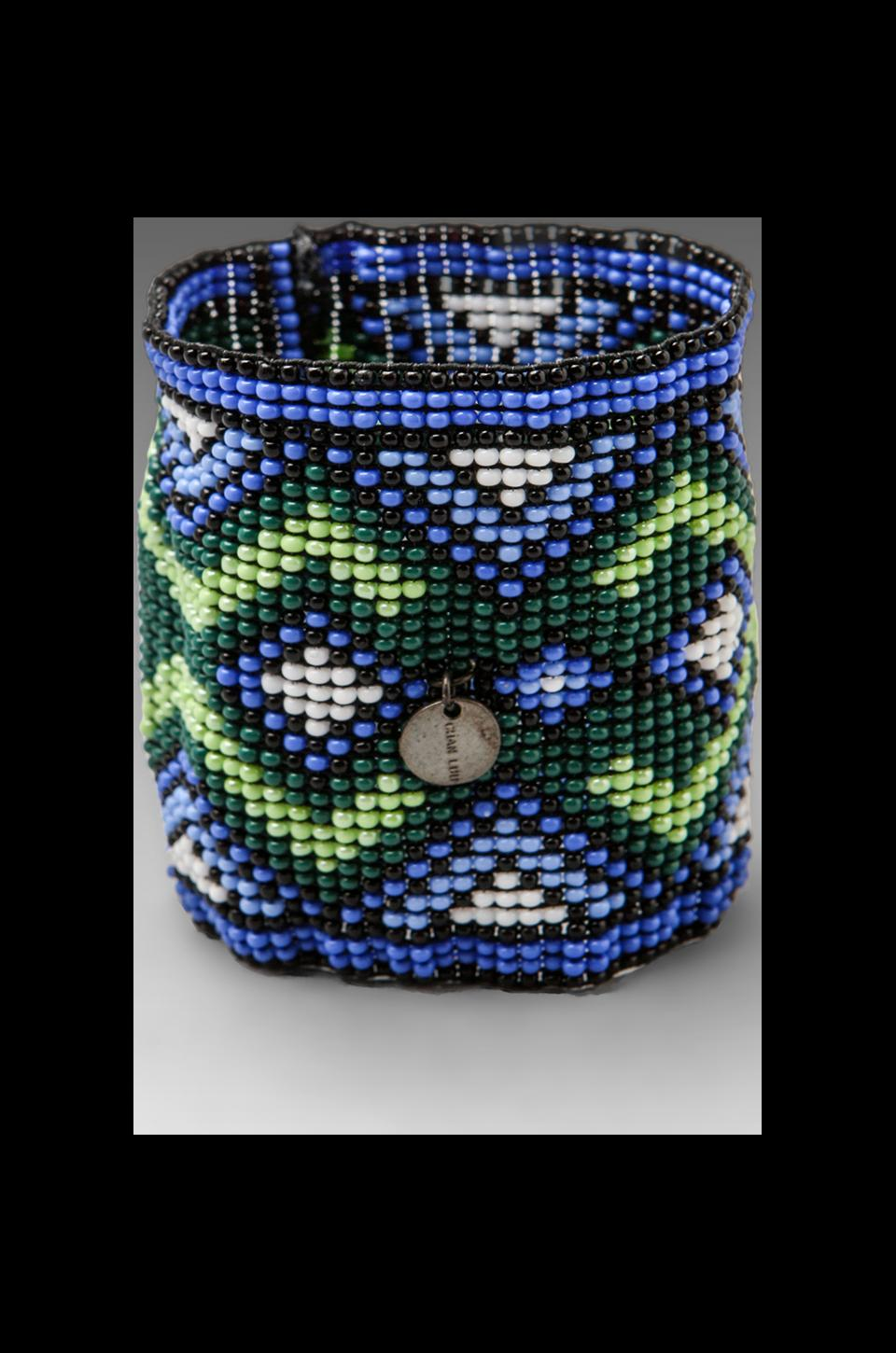 CHAN LUU Handwoven Glass Bead Cuff in Blue Mix