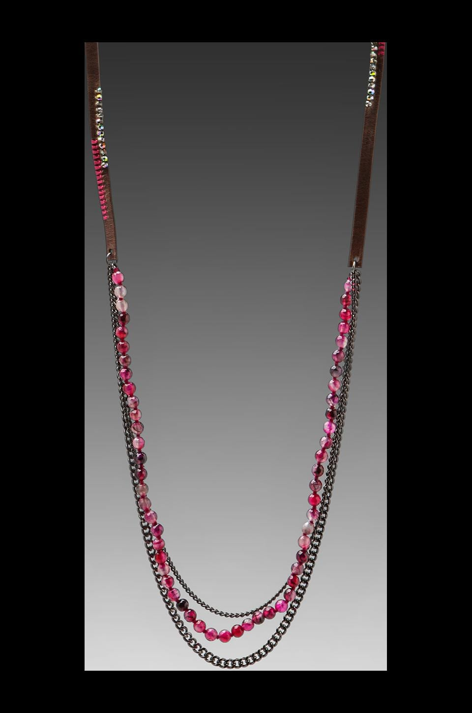 CHAN LUU Long Chain Bead Necklace in Black Fuchsia Agate