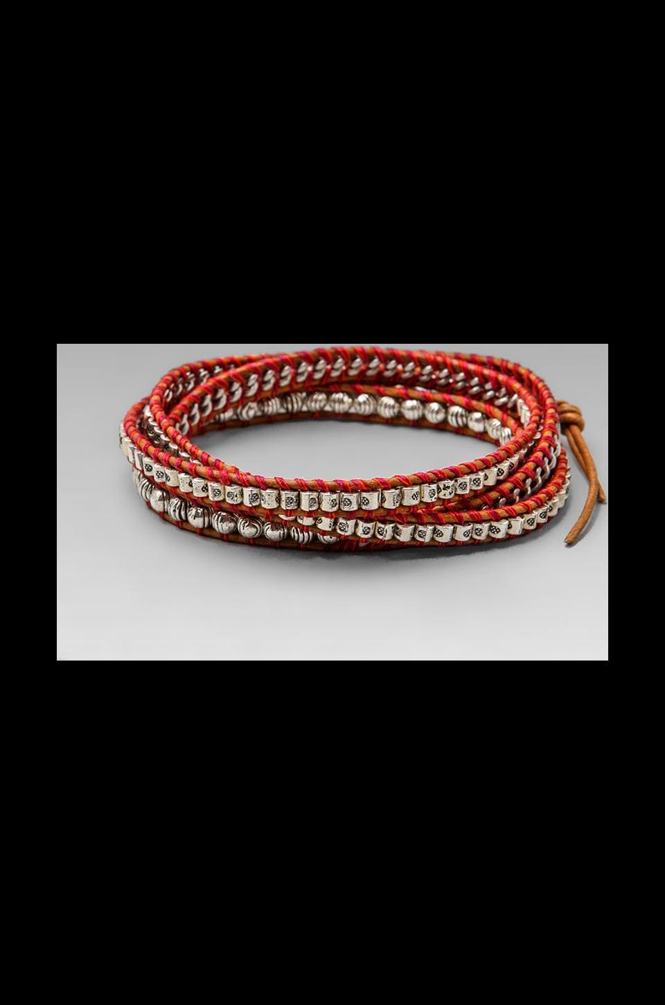 CHAN LUU Threaded Wrap Bracelet in Red Mix/Natural Brown
