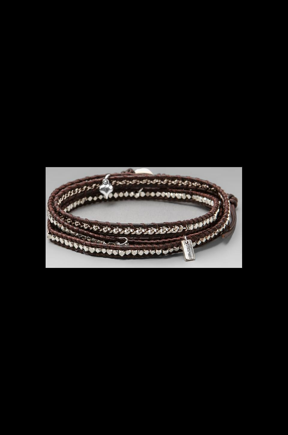 CHAN LUU Threaded Wrap Charm Bracelet in Silver/Natural Dark Brown