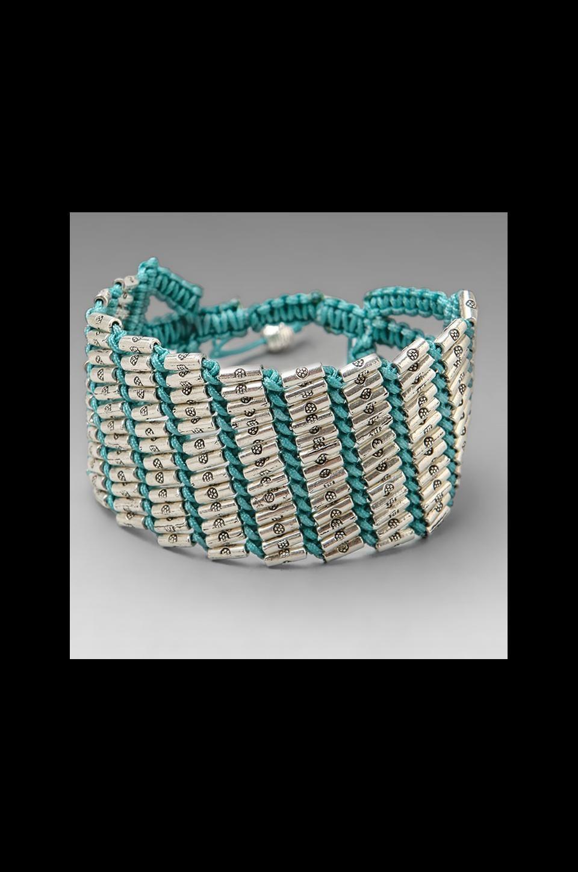 CHAN LUU Adjustable Beaded Cuff in Turquoise