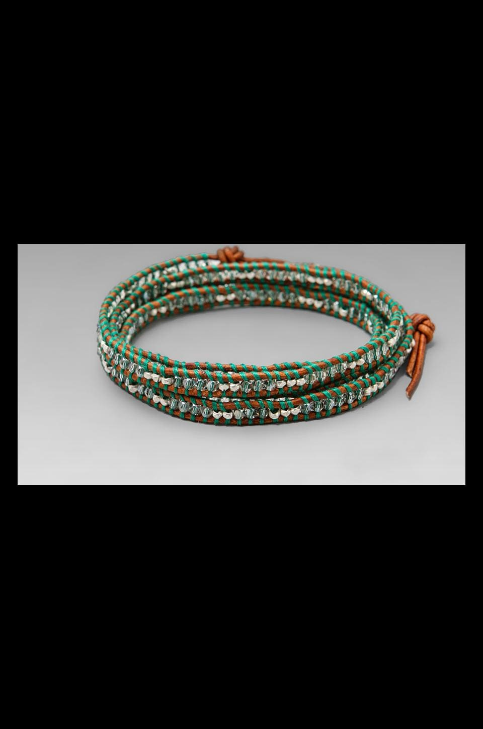 CHAN LUU Threaded Wrap Bracelet in Silver Shade/Natural Brown