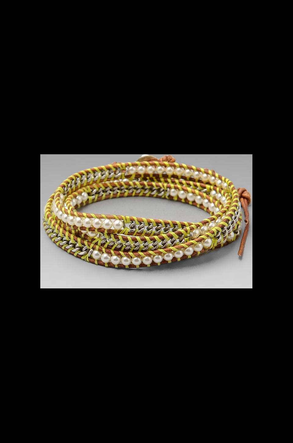 CHAN LUU Threaded Wrap Bracelet in Cream Pearl/Natural Brown