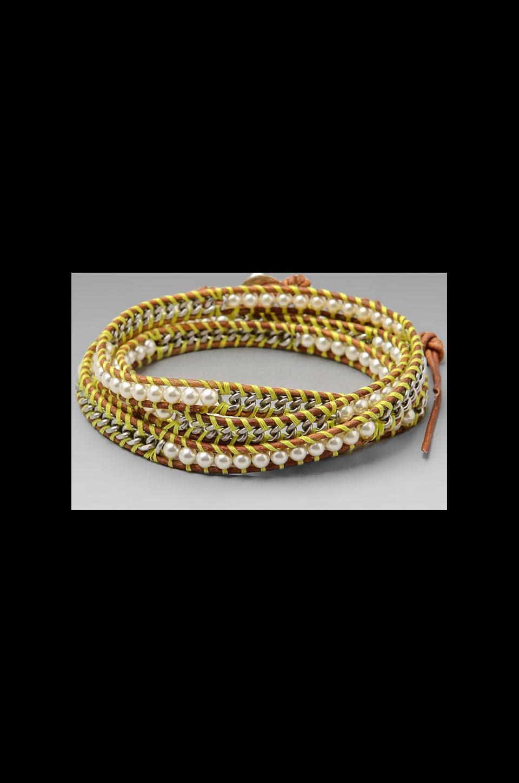 CHAN LUU Threaded Wrap Bracelet in Cream Pearl/Natural Brown