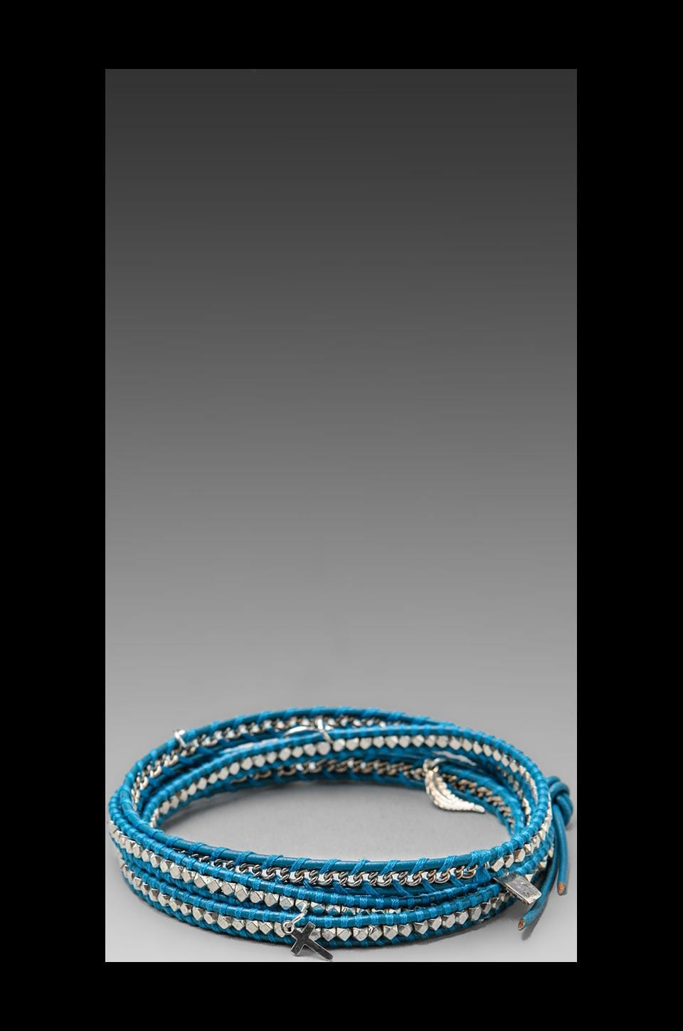 CHAN LUU Threaded Wrap Charm Bracelet in Light Blue/Silver