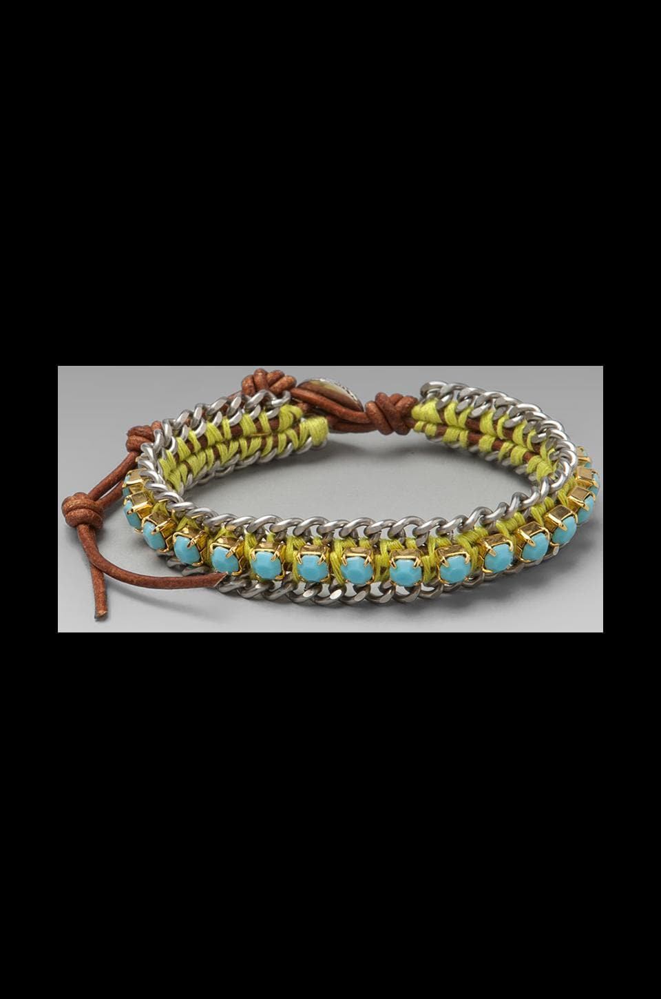 CHAN LUU Rhinestone Bracelet in Turquoise/Natural Brown