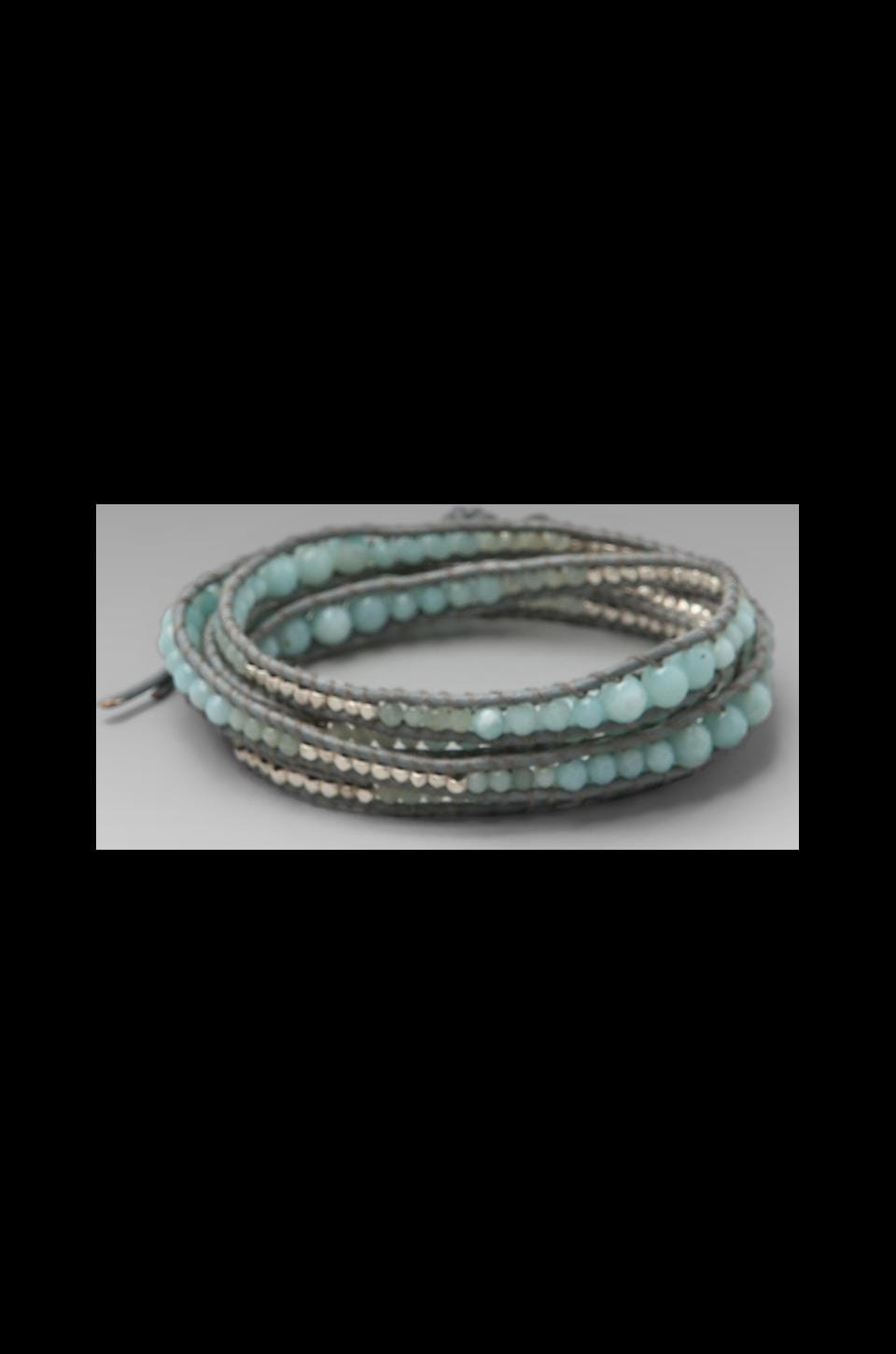 CHAN LUU Wrap Bracelet in Amasonite/Iceberg