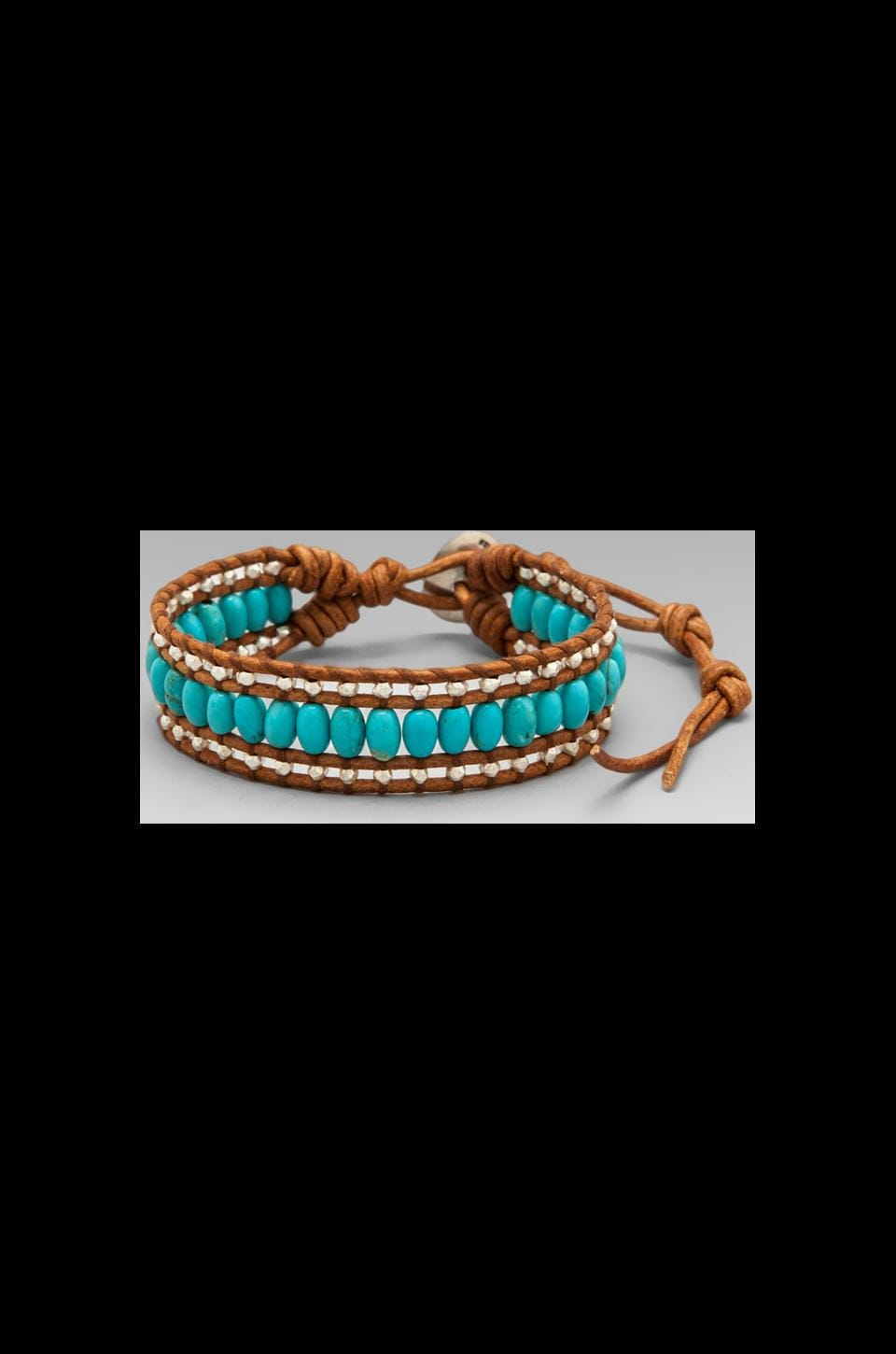 CHAN LUU Wrap Bracelet in Turquoise/Natural Brown