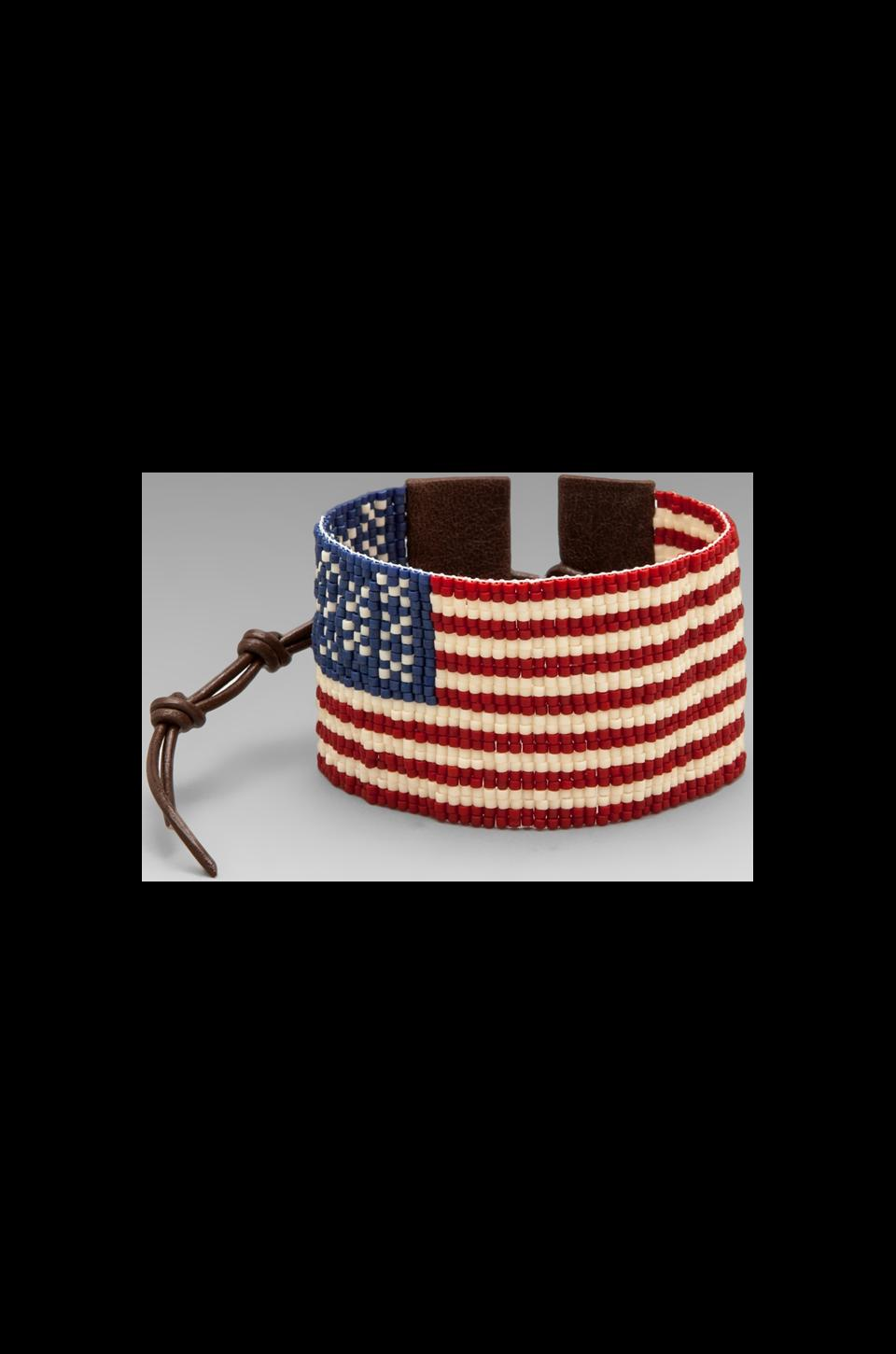 CHAN LUU American Flag Bracelet in Red Mix/Brown