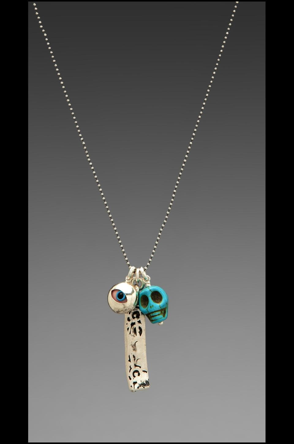 CHAN LUU Skull Charm Necklace in Turquoise Mix