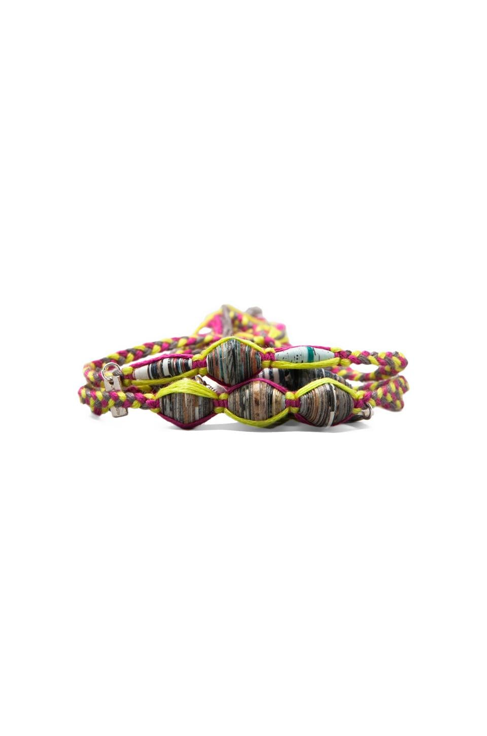 CHAN LUU Beaded Bracelet Set Mix in Neon Fuchsia