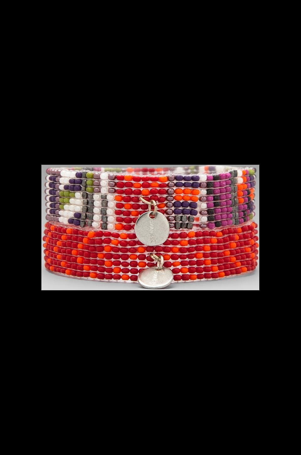 CHAN LUU Beaded Stretch Cuff in Tango/Spicy Orange