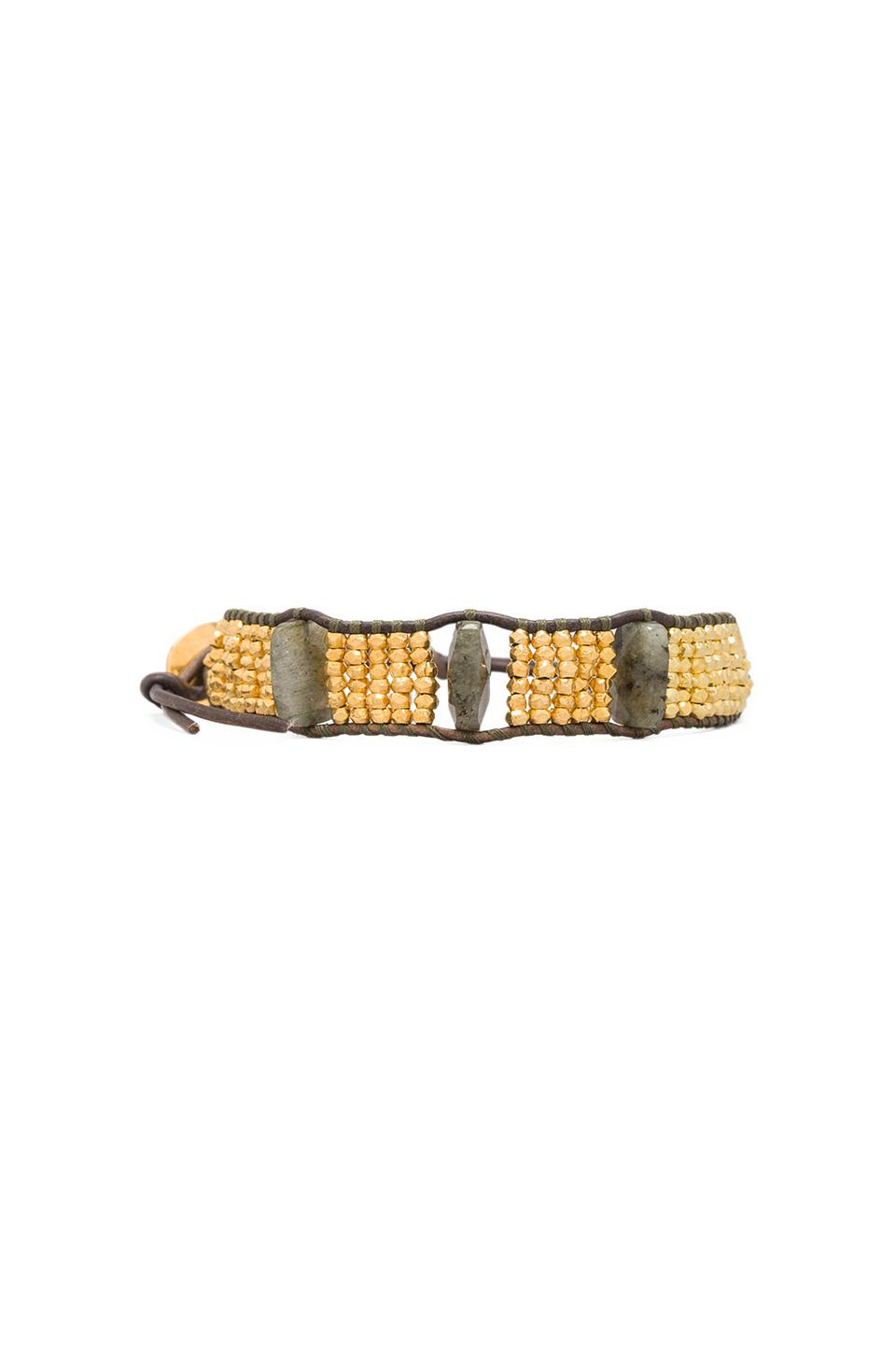 CHAN LUU Beaded Bracelet in Labradorite/Natural Grey
