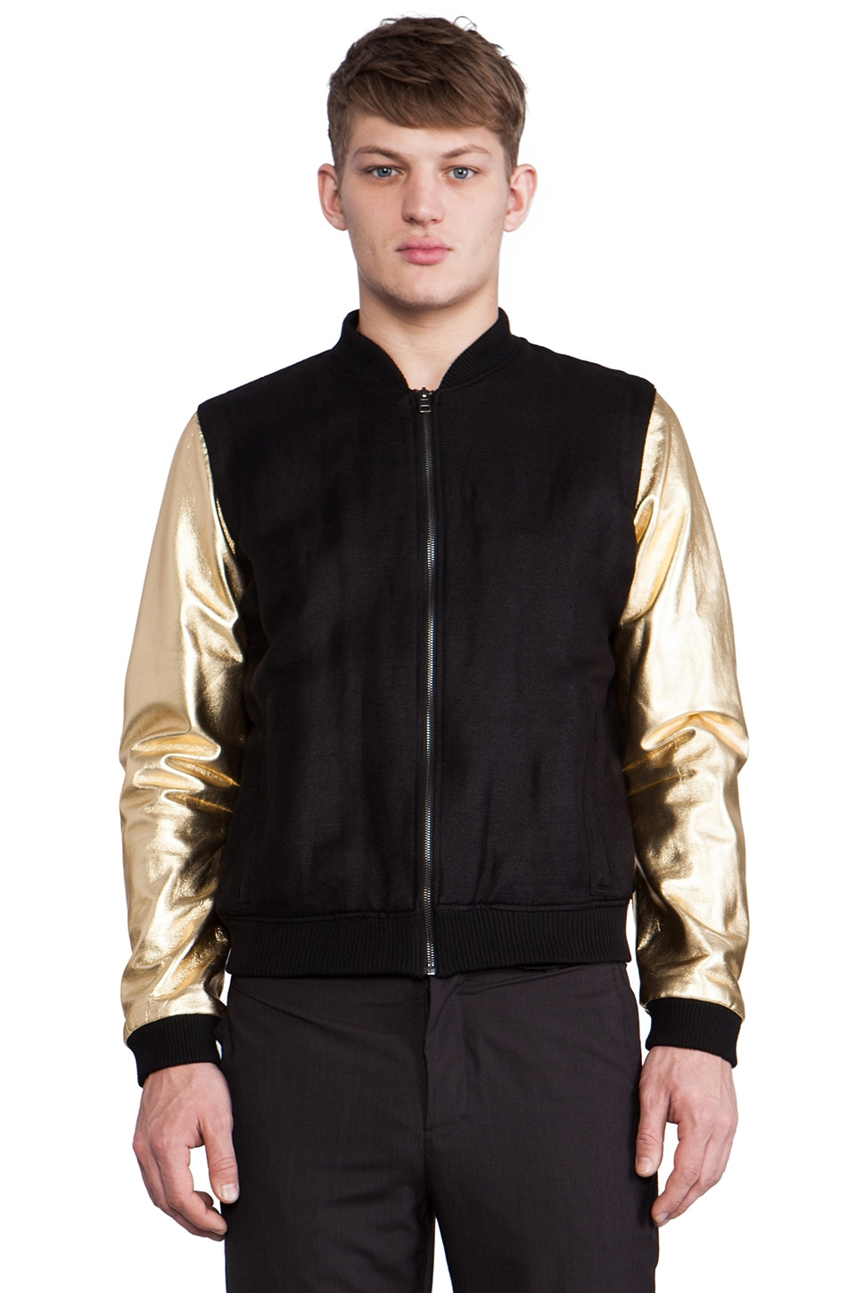 CHAPTER Maro Bomber Jacket in Black & Gold