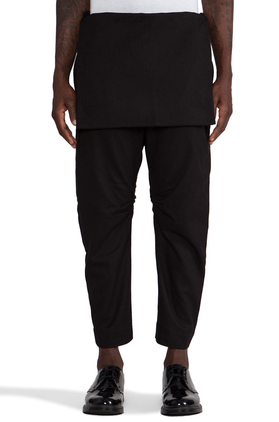 CHAPTER Shando Front Panel Pant in Black Dress Wool
