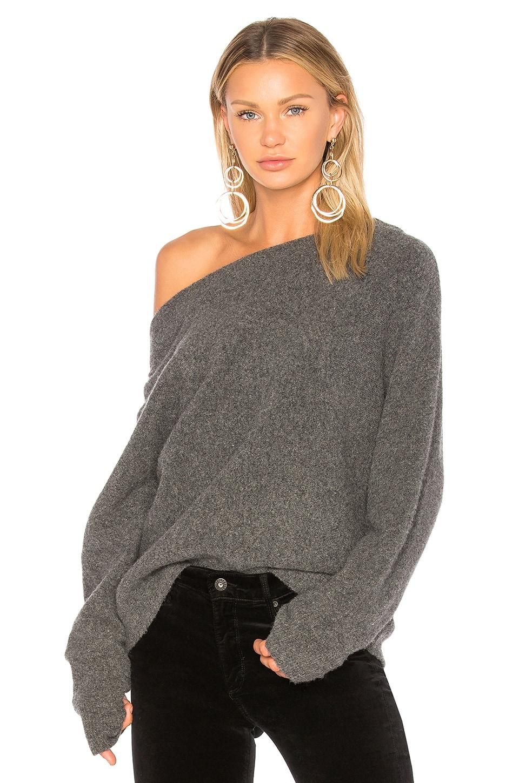 CHARLI Bergitte Off Shoulder Sweater in Grey Melange