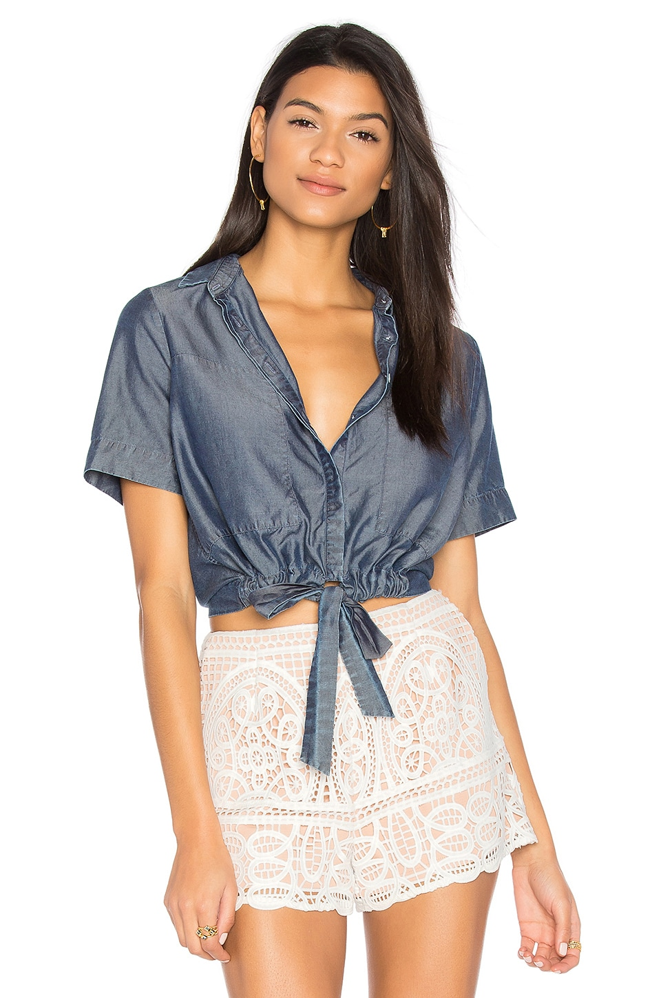 Sarai Tie Front Button Up by Charli