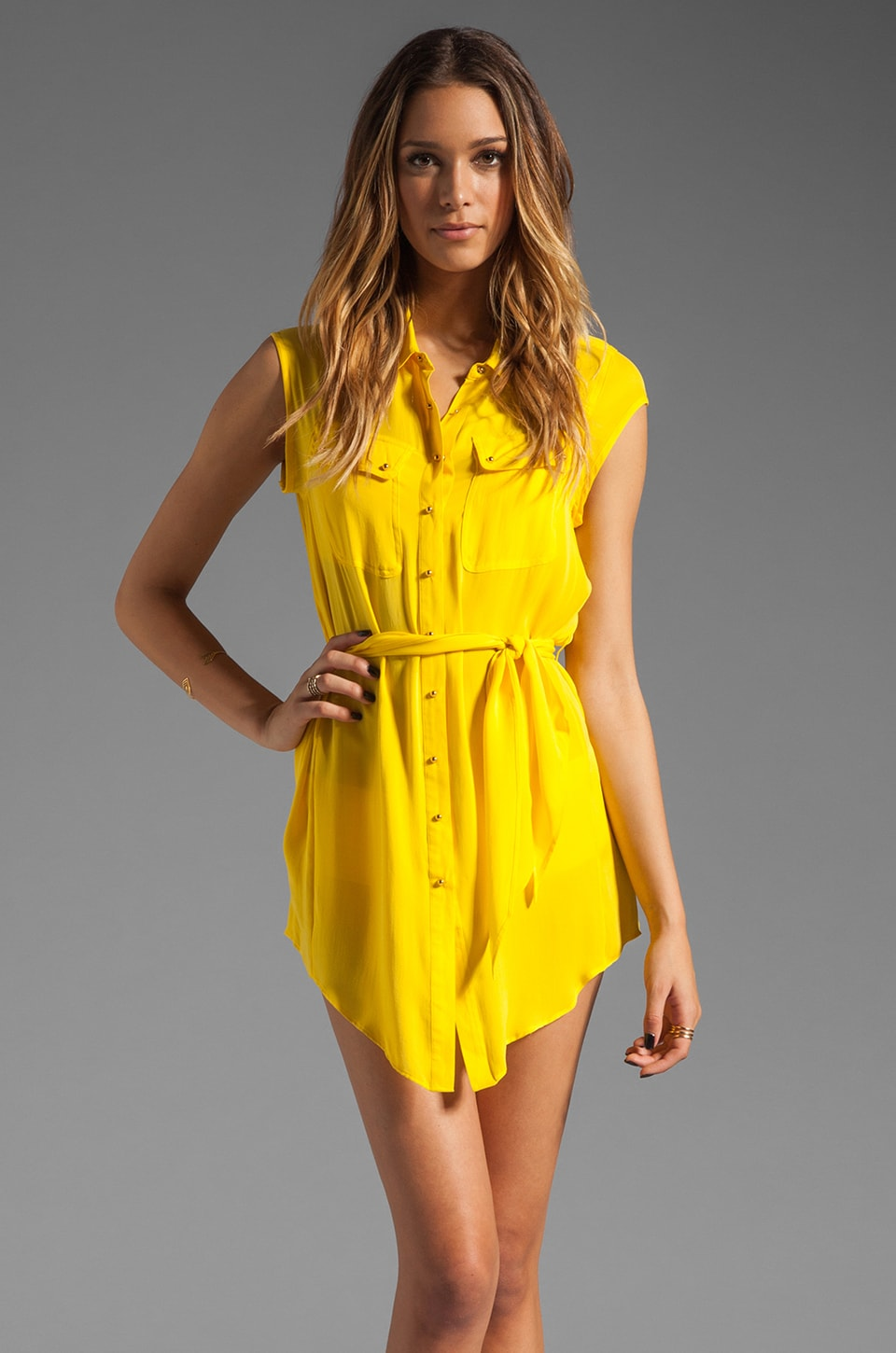 Charlie by Matthew Zink Resort Charlie Silk Dress en Jaune