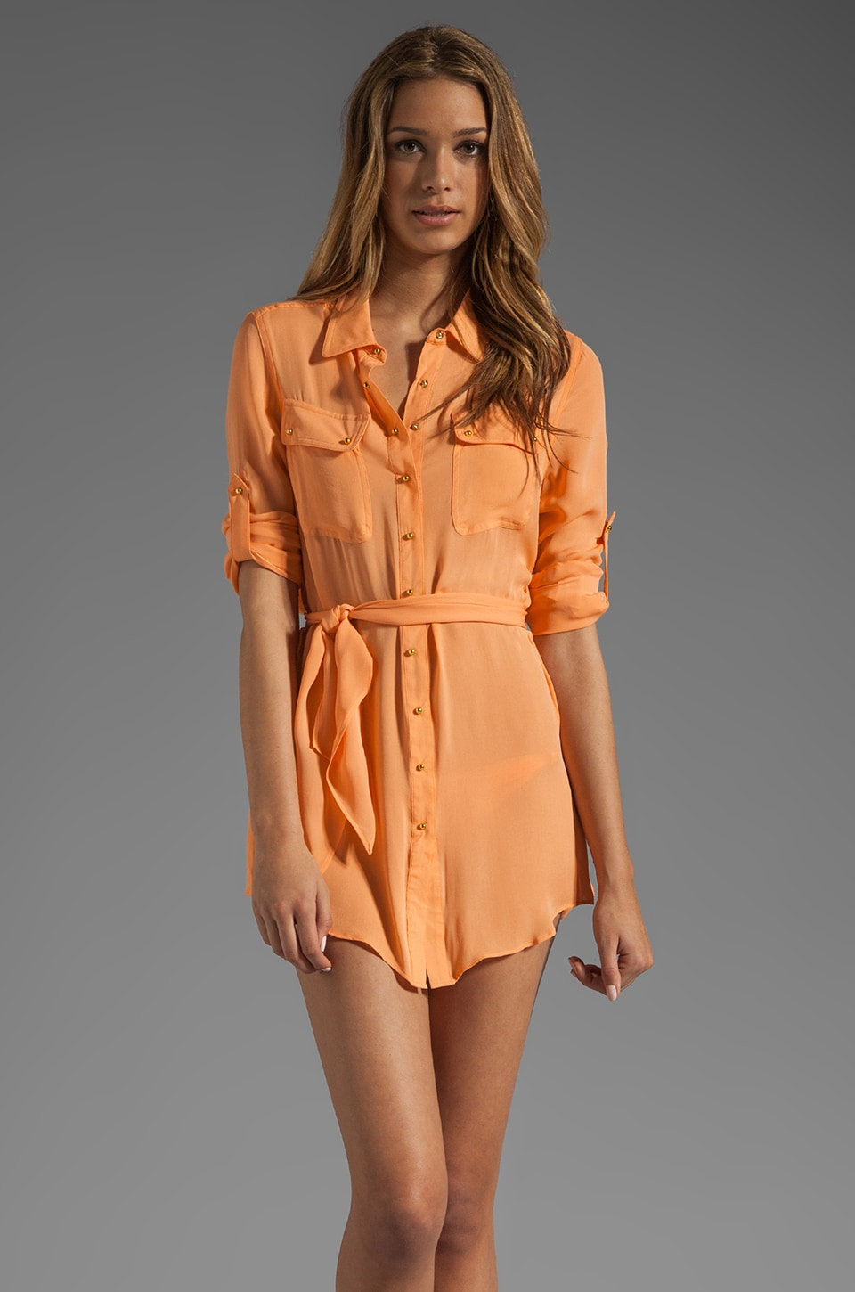 Charlie by Matthew Zink Resort Silk Shirtdress in Peach