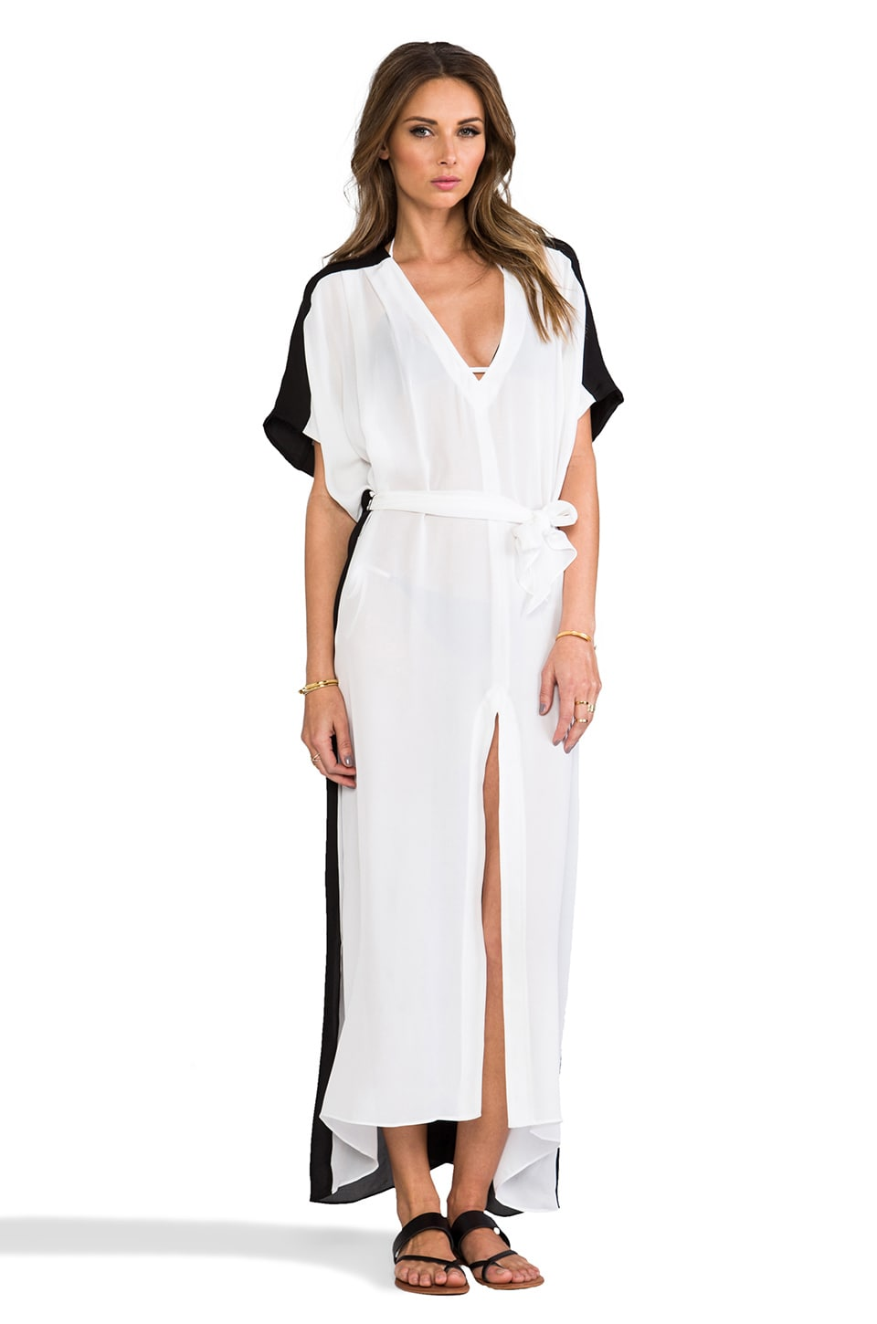 Charlie by Matthew Zink Charlie Caftan in White/Black