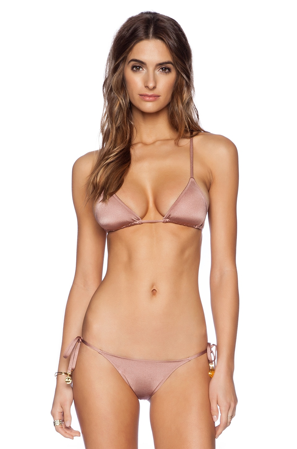 Charlie by Matthew Zink Grecian Coin Triangle Bikini Top in Cocoa