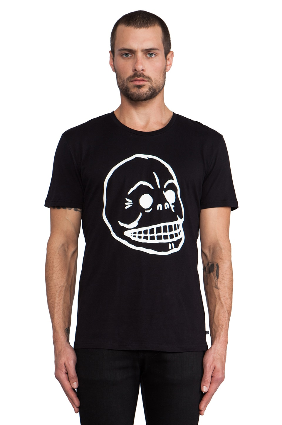 Cheap Monday Bruce Printed Skull Tee in Black