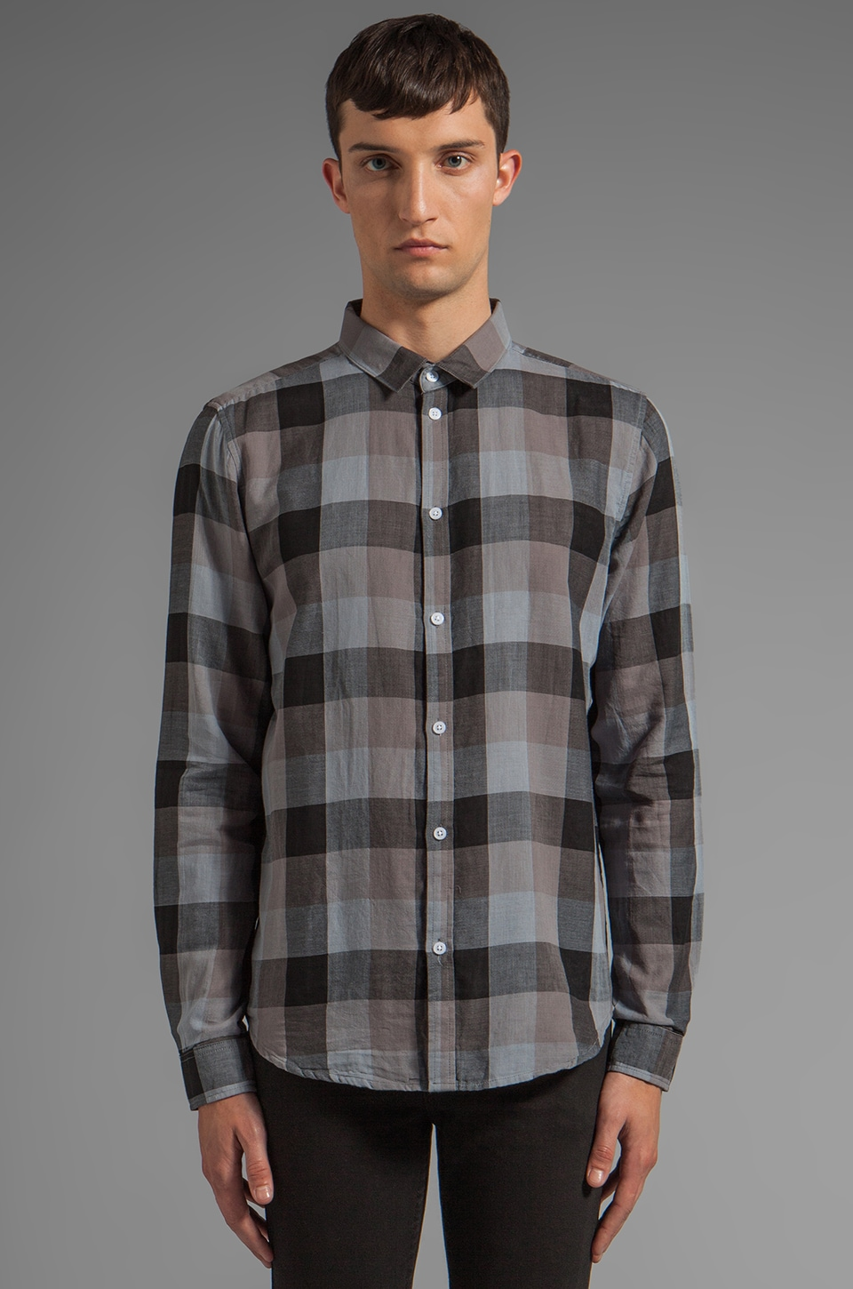 Cheap Monday Damon Shirt in Blue/ Grey Check