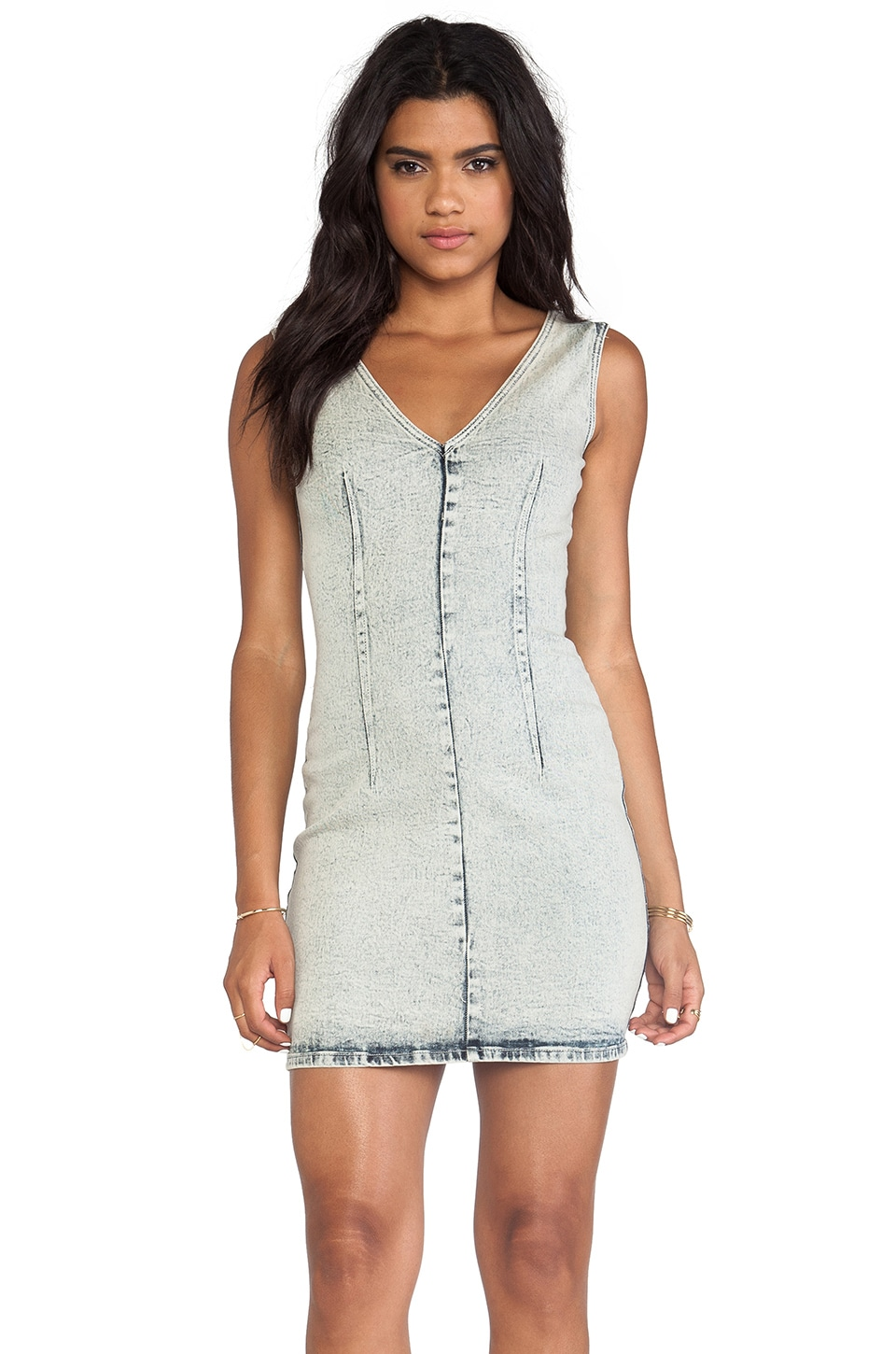 Cheap Monday V Neck Dress in Pre Wash White