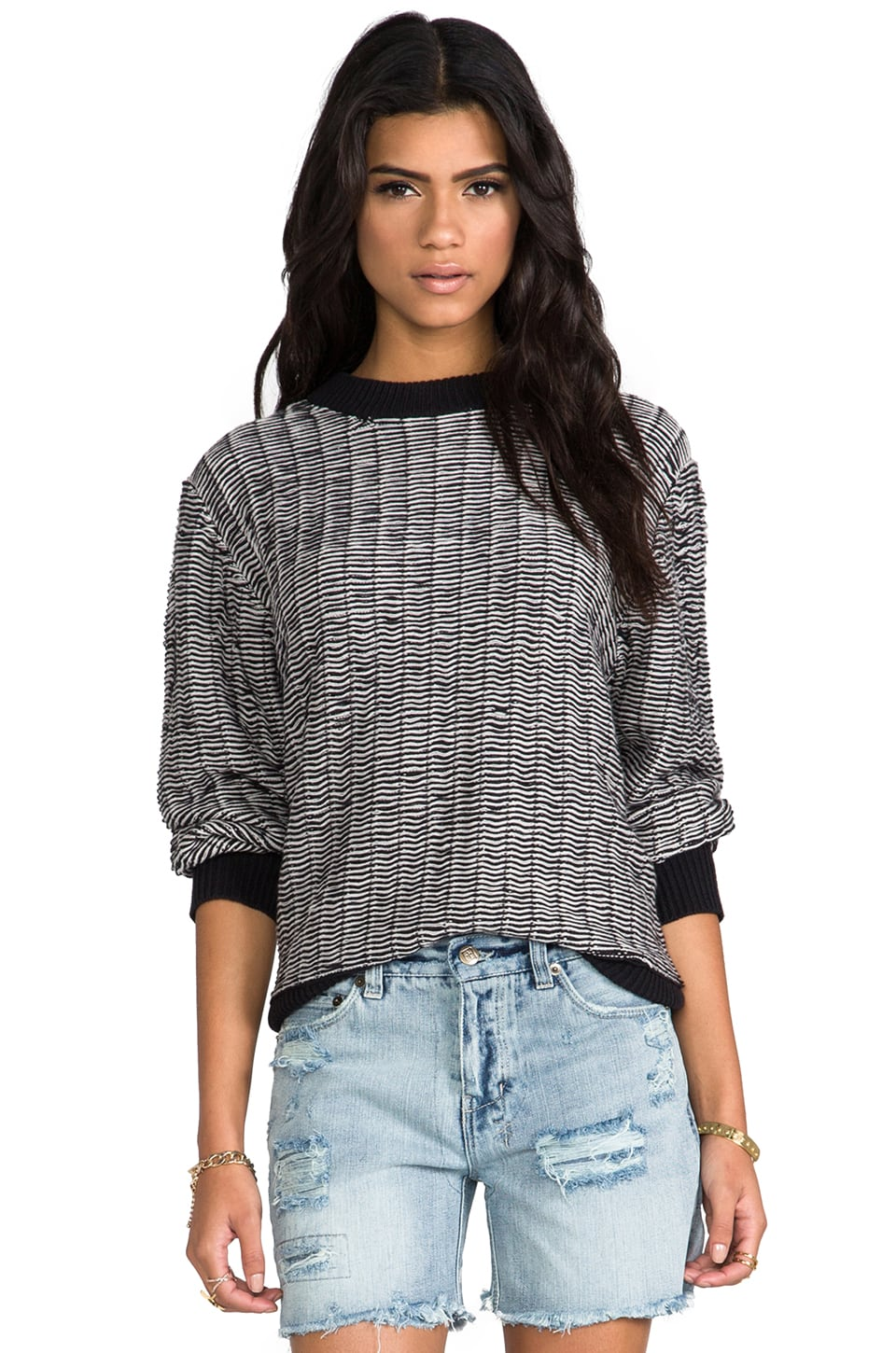 Cheap Monday Big Knit Sweater in Black/ White