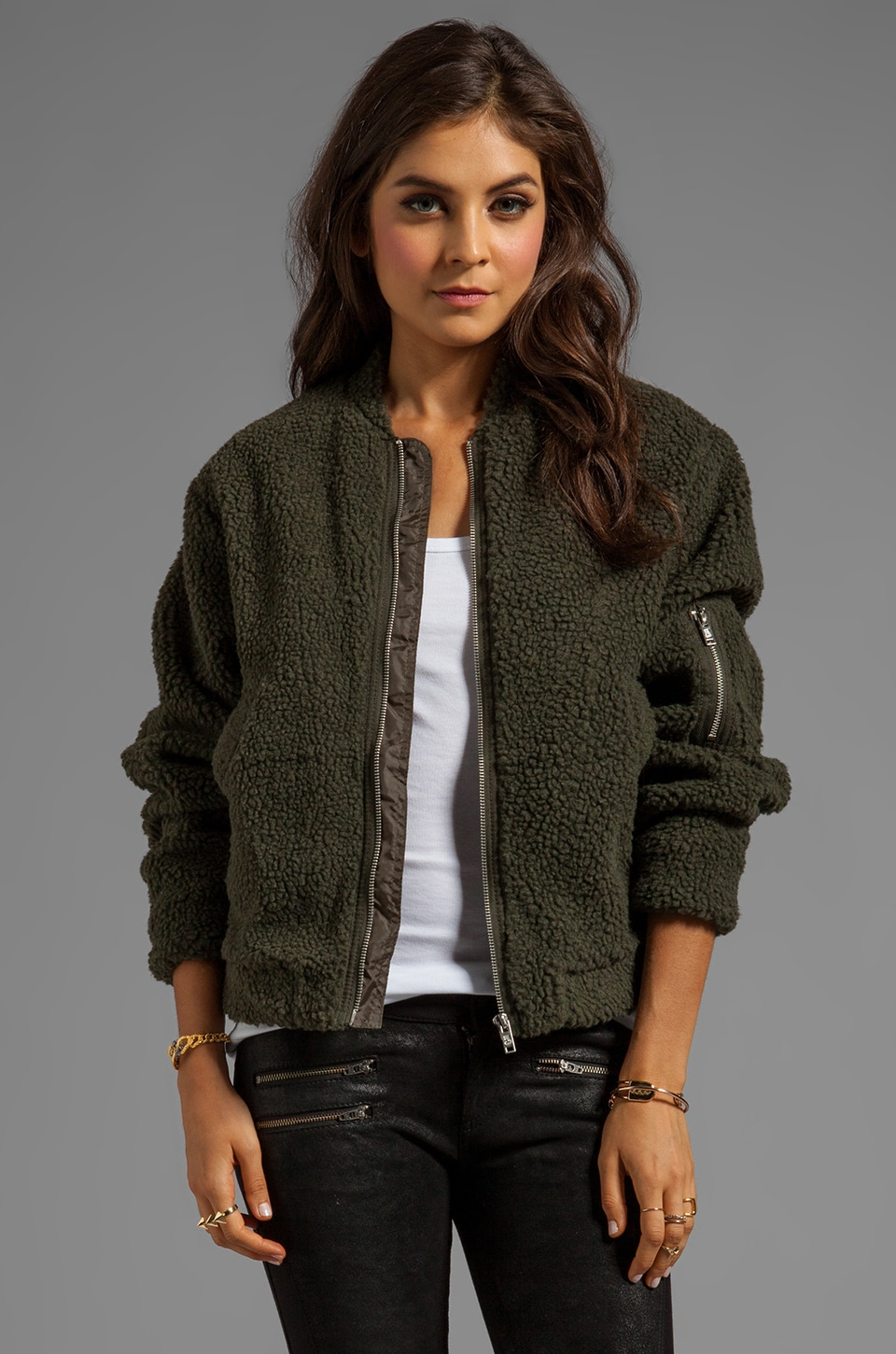 Cheap Monday Teddy Bomber in Earth Green