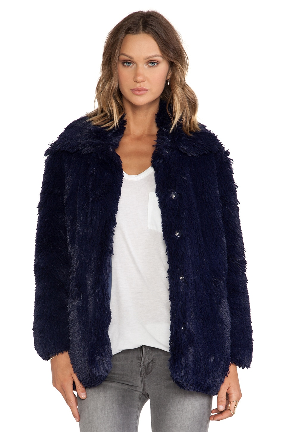 Cheap Monday Furious Faux Fur Jacket in Bleak Blue | REVOLVE