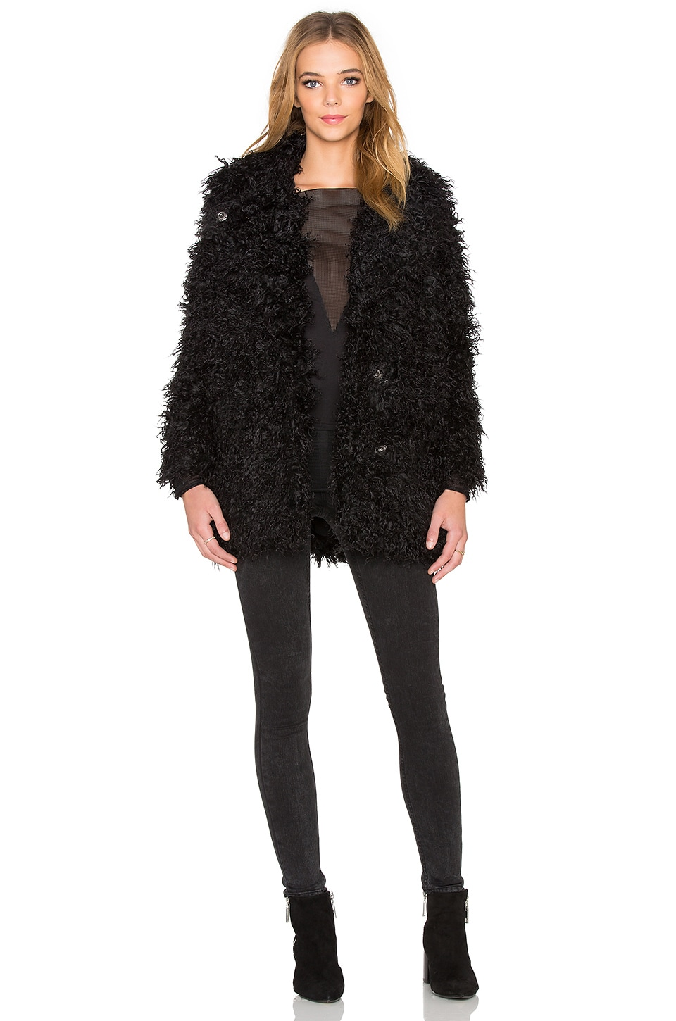 Cheap Monday Curl Faux Fur Jacket in Punk Black | REVOLVE