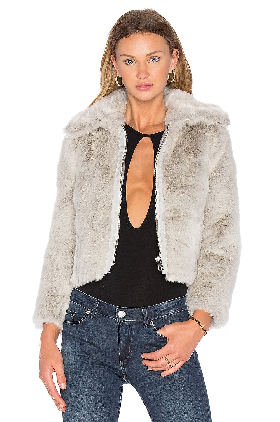 Cheap Monday Pace Faux Fur Jacket in Messy White | REVOLVE