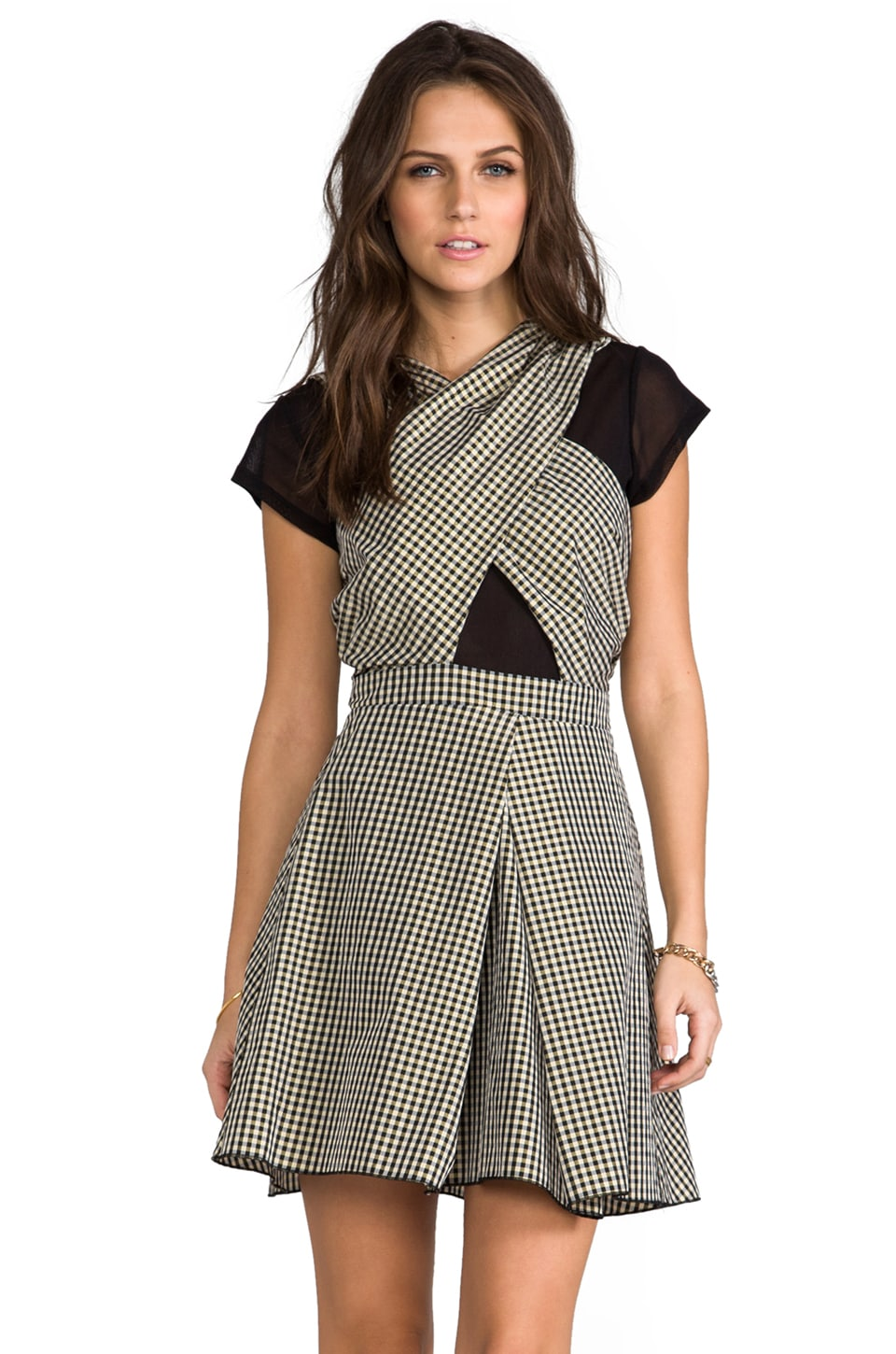 Charles Henry Cross Front Dress in Gold Plaid