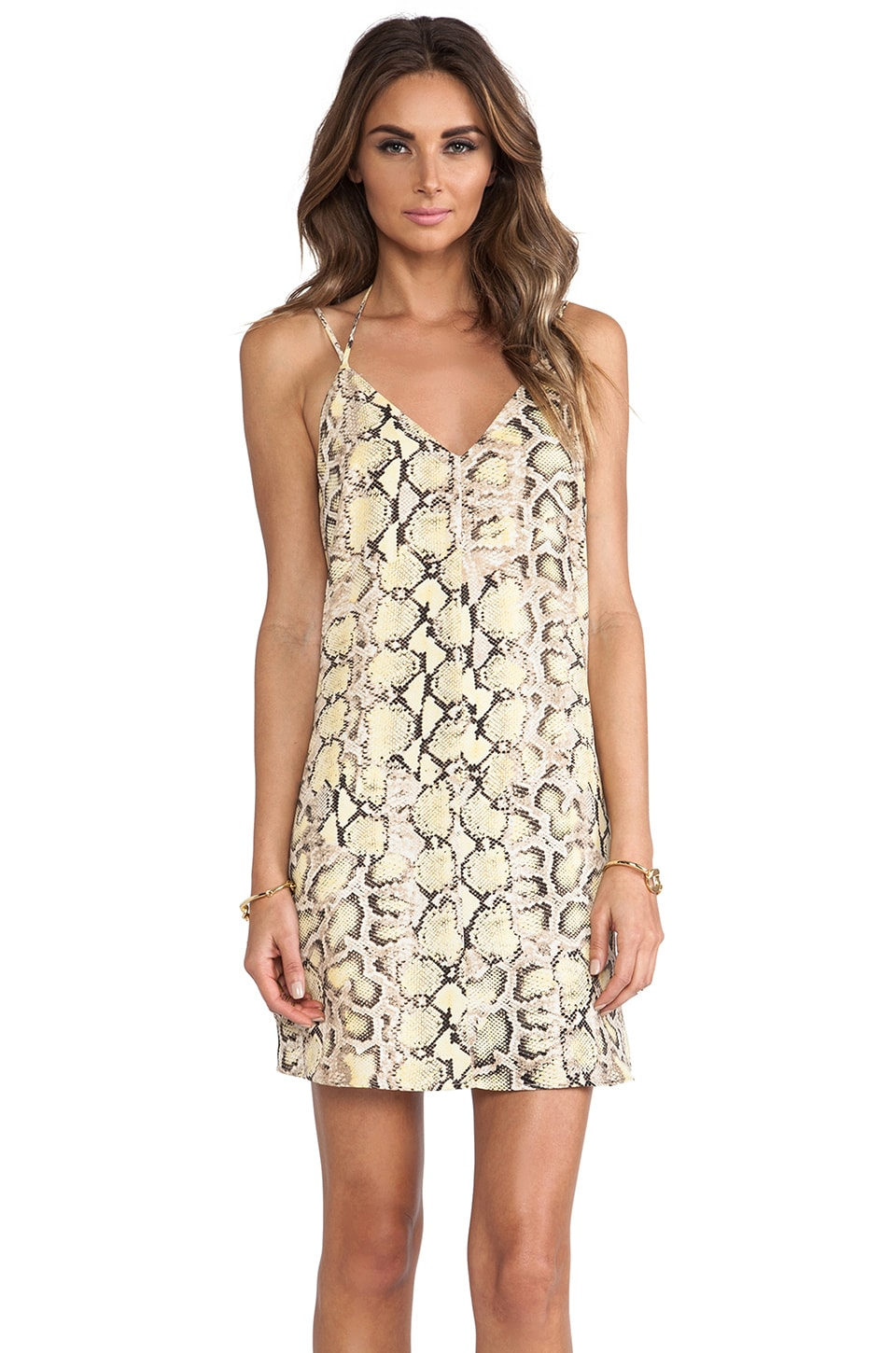 Charles Henry Slip Dress in Yellow Python